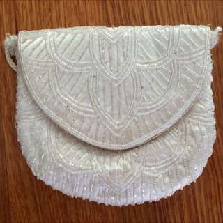 Vintage White Beaded Pouch