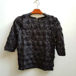 IMPORT!! FLOWER 3D EMBOSS TOP - BLACK