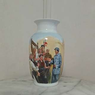 CR Vase with enamel landscape painting height 33cm perfect