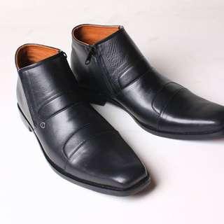Sepatu Boots Pria Formal Kulit Asli Flavio Avellino Hitam