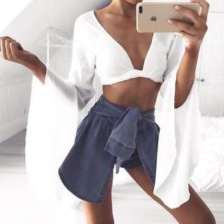 Ceila Wrap Top - White