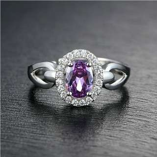 紫水晶戒指 925純銀