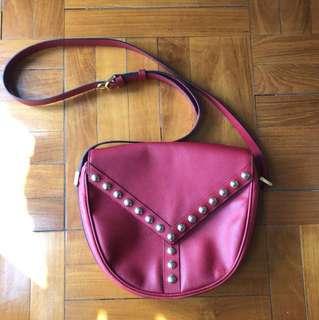 YSL 袋 vintage red sling Y bag yves saint laurent 側