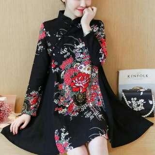 中國風民族花布改良旗袍連身裙(黑)
