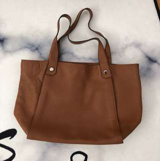 Le Junev Brown Leather Tote Bag