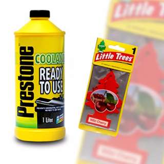 Prestone Ready-to-use Coolant 1L + Little Trees Wild Cherry Car Freshener(Set of 4)
