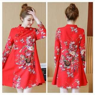 中國風民族花布改良旗袍連身裙(紅)