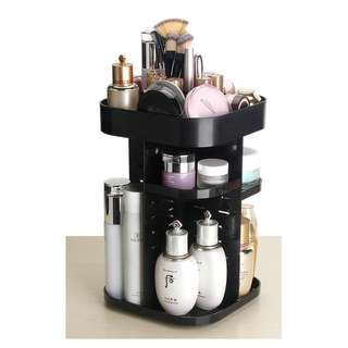 Brand NEW 360 Rotating Acrylic Make Up Organizer Cosmetic Storage Box - Black White Transparent