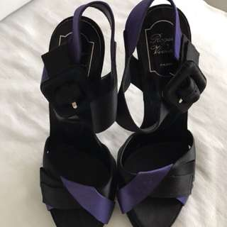 mint condition AUTHENTIC ROGER VIVIER satin strappy heels - size 40