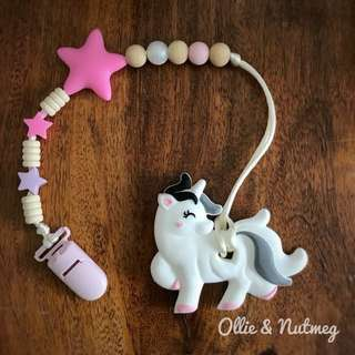 Customised Pacifier Clip with Unicorn Silicone Teether