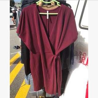 Red/Maroon Indikah Wrap Dress