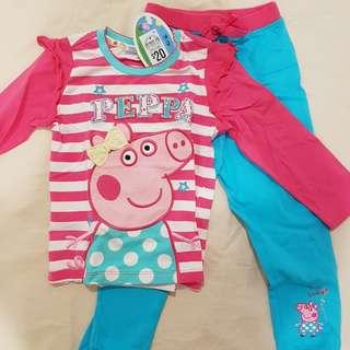 Peppa pig long sleeve pajamas