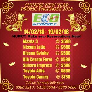 CNY CAR RENTAL 2018  / Short Term / Long Term / UBER /GRAB
