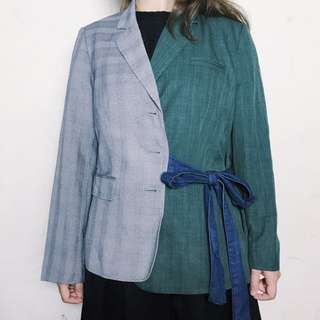 全新台灣設計師品牌自訂款拼接西裝外套