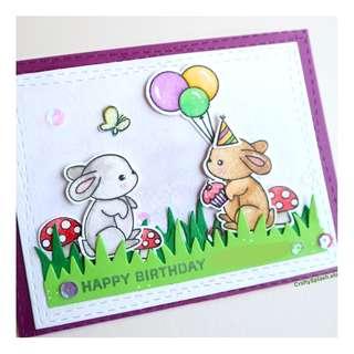 Handmade birthday card, rabbits, cupcake, birthday balloons, personalize colors, greeting card.