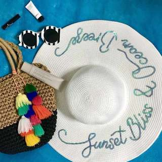 Made-to-order sequins wording hat