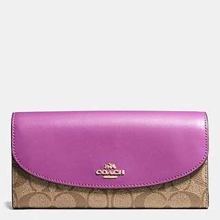 Coach F54022 紫色皮信封銀包