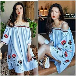 Embroidered offshoulder dress