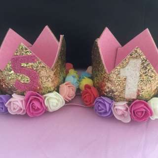 Pretty Kids' birthday crown headband - 1 year old and 5 year old