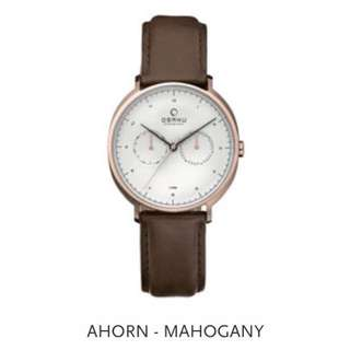 Obaku Ahorn Mahogany men's watch 男裝錶