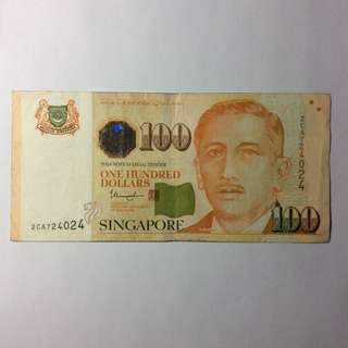 2CA724024 Singapore Portrait Series $100 note.