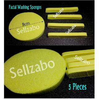 🆕5 Pieces Soft Face Scrubbing Washing Spongy Sellzabo Wash Cleansing Clease Facial Scrub Sponge Travel Use
