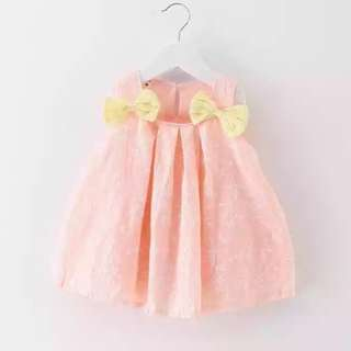 Ribbons Peach Baby Dress