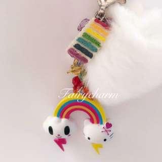 Tokidoki rainbow kitty beads fob