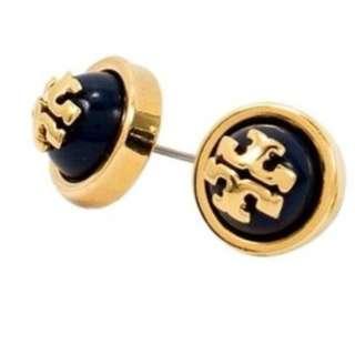 Tory Burch 11145528 Women's Melodie Logo Navy Blue Shiny Brass Stud Earrings
