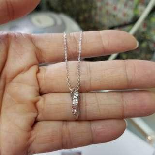18K白金18份鑽石吊咀連頸鍊
