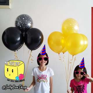 2 sets of balloons combination with Helium | Gold and Black Theme | Perfect for Birthday Party, Weddings, Proposals, Corporate Events