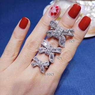 日本珠寶 100%真鑽蝴蝶戒指(鑽石合共1卡)
