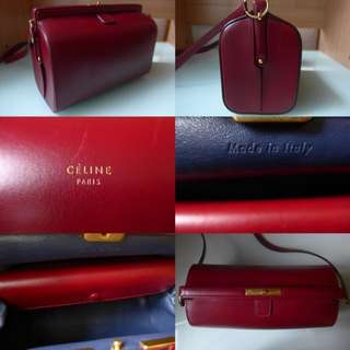 CELINE Mini Doc Burgundy /Calfskin /90%New