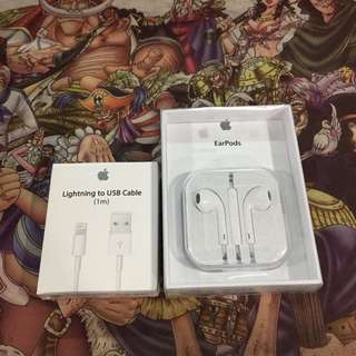Apple EarPods + USB cable (original taiwan vensonic)