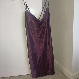 Bardot silk cowl neck dress
