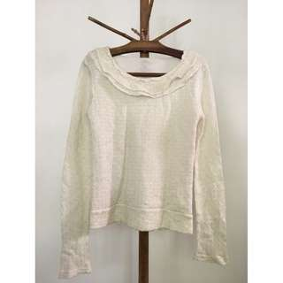 White knitted long-sleeve top with ruffles