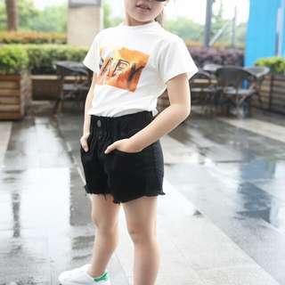 Letters Baby Short Sleeve T-shirt Korean Children Cotton Shirt