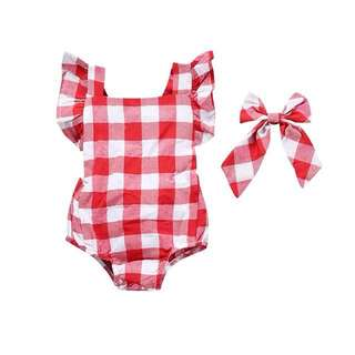 🌟INSTOCK🌟 2pc Red Grid with Matching Headband X Cross Back Romper Newborn Baby Toddler Girl Everyday Children Kids Clothing