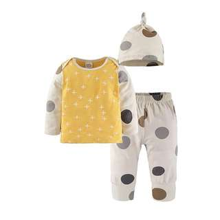 🌟INSTOCK🌟 3pc Yellow Polka Grey Long Sleeves Tshirt Top and Trouser Pants with Beanie Hat Set Newborn Baby Toddler Boy and Girl Everyday Wear Children Kids Clothing