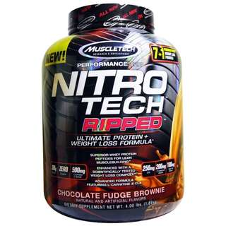 SALE Tub Muscletech, Nitro Tech, Ripped, Ultimate Protein + Weight Loss Formula, Chocolate Fudge Brownie, 4.00 lbs (1.81 kg)