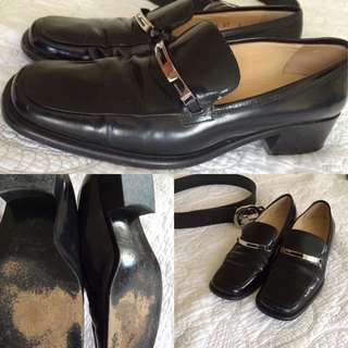 GUCCI BLACK AUTHENTIC LOAFERS 37 7 VGUC
