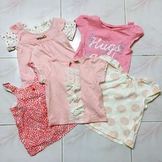 5 Pcs Baby Girl Shirts