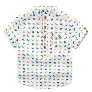 TZ032 Next Toddler Boys Mandarin Collar Doggy Top Shirt