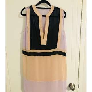 Nude & pastel shift dress