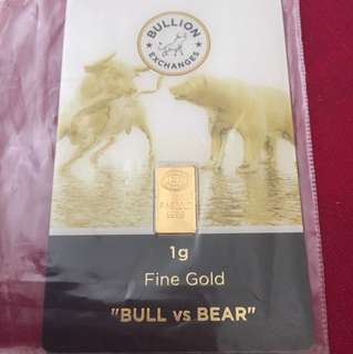 Bull & Bear gold bar 1 gram 999.9