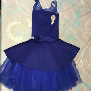 BN Navy Blue Shimmer tutu skirt with Blouse, Hat and Brooch