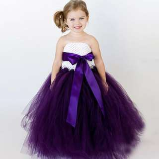 Purple and white tulle dress liner with cotton