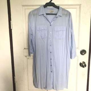 Bershka Blue Long Sleeve/ Button down Dress Medium