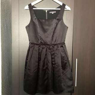 Forever 21 Black Satin Cocktail Skater Dress