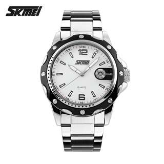 SKMEI Jam Tangan Analog Pria Strap Stainless Steel - 0992C - White/Black